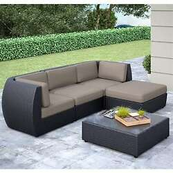 CorLiving Seattle Curved 5-Piece Sofa with Chaise Lounge Patio Set PPS-604-Z