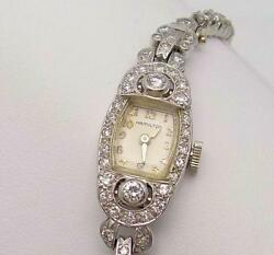 14K White Gold Hamilton Diamond Wrist Watch (with Extra Links)