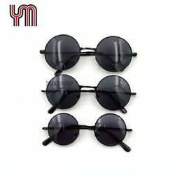 Black Sunglasses 60#x27;s Dark Lens Round Frame Small Shades Sunnies Retro Men Kids $7.97