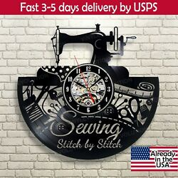 Retro Vinyl Record Wall Clock Inspired By Sewing Instrument Handmade Decor Gift $25.00