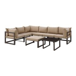 Modway Fortuna 8-Piece Outdoor Patio Sectional Sofa Set with Ottoman and Coffee