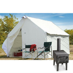 10 x 12 Canvas Wall Tent Bundle w Floor Frame & Outdoor Wood Stove Camp Cabin