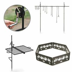 Outdoor Campfire Cooking Bundle w Swing Grill Roasting Spit & Campfire Ring