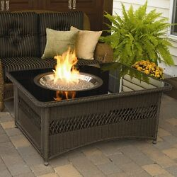 Outdoor Fire Pit Coffee Table LP Gas Fireplace Glass Top Wicker Patio Furniture