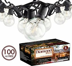 100Ft G40 Bulbs IndoorOutdoor Globe Hanging String Lights Set Ready out of t...