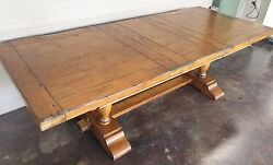 Antique Style Hand-Distressed Wood Trestle Dining Rustic Table W Leaf