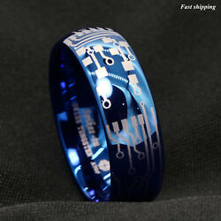 8mm Shiny Blue Dome Tungsten Carbide Ring Laser Circuit Board ATOP Men's Jewelry $12.69