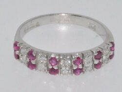 18ct white gold ruby & diamond double row half eternity ring size N London 1975