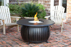 Propane Fire Pit Table Fire Sense Gas w Cover Portable LPG Patio Round Aluminum