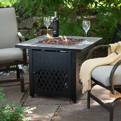 Gas Fire Pit Table Propane Uniflame Portable Square w Lava Rock Free Cover New