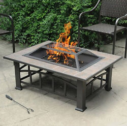 Fire Pit Table Wood Burning Outdoor Tile Steel Deck Bronze Patio Backyard Modern