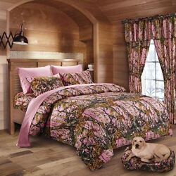 22 PC QUEEN PINK CAMO SET!! CURTAINS COMFORTER SHEET CAMOUFLAGE WESTERN WOODS