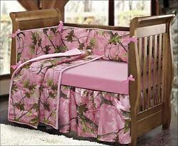 Camo Crib Bedding Sets For Girls Pink Leaves Nursery Camouflage Gift Infant Baby