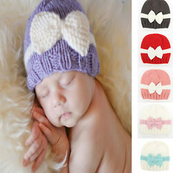 Newborn Baby Girls Infant Bow Bowknot Knit Crochet Cap Hat Cute Hat Prob Beanie