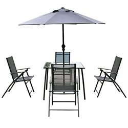 6PCS Patio Garden Set furniture 4 Folding Chairs Table with Umbrella ...