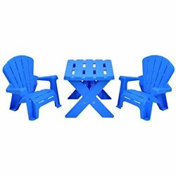 Kids Plastic Table and 2 Chairs Set Adirondack Chair Patio Activity C...