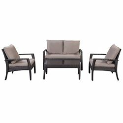 4 Pcs Outdoor Patio Deck Wicker Furniture Set Tea Table and Chairs