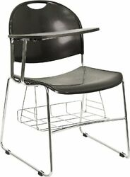 Flash Furniture Black Plastic Chair with Right Handed Flip-Up Tablet Arm and