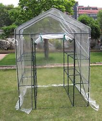 Deluxe 6-tier Walk-In Portable Greenhouse with 12 Shelves and Clear PVC Cover