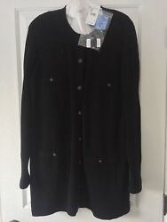 New with tag CHANEL Black Cashmere Long Sweater Cardigan F48 US14 Retail $3650