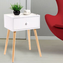 Wooden Tea Side Table Nightstand With Drawer Modern Retro Decor Furniture White