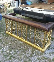 fire side bench surround seat hearth antique wrought iron gold alligator