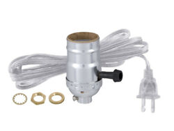 TABLE LAMP ON OFF SOCKET w Cord REWIRING KIT Antique Silver Brass $6.68