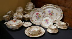HAMMERSLEY Rare DRESDEN SPRAYS Dinner SERVICE Set for 12 Floral Gold 88 pcs