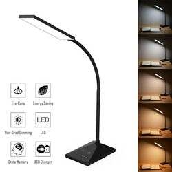 Dimmable LED Desk Lamp Touch with USB Charging Port 7 Brightness Levels Black US $22.30