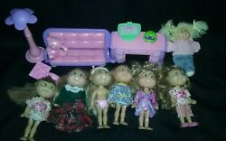 LITTLE SPROUTS CABBAGE PATCH 7 FIGURES AND FURNITURE LOT