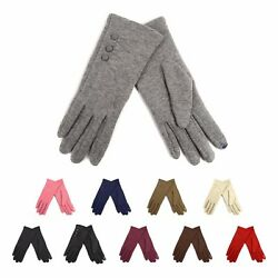 Ladies' Smartphone Accessible Winter Gloves with Button Accents Touch Screen Use $6.99
