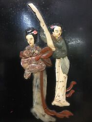 Old Chinese Lacquer Panel Natural Stone one Inlay Ladies
