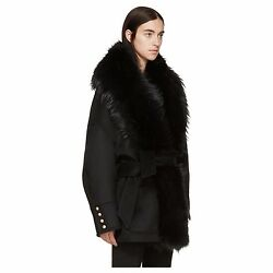 Balmain Fur-Trimmed Wool and Cashmere Coat 36 $7250