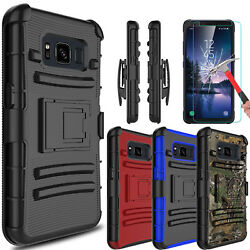 For Samsung Galaxy S8 Active Case With Kickstand Belt Clip  Screen Protector $7.93