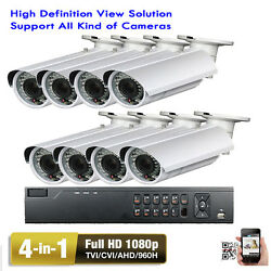 8CH DVR 1080P TVI 4-in-1 2.6MP 2.8-12mm OSD Menu Outdoor Security Camera System