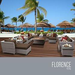 OCTR-FLORENCE17CCOCOA-Florence 17 Piece Outdoor Wicker Patio Furniture Set 17c