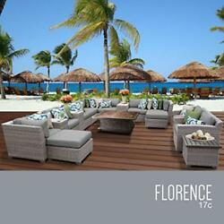 OCTR-FLORENCE17CGREY-Florence 17 Piece Outdoor Wicker Patio Furniture Set 17c