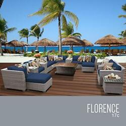 OCTR-FLORENCE17CNAVY-Florence 17 Piece Outdoor Wicker Patio Furniture Set 17c