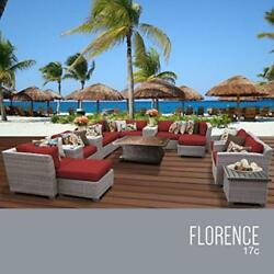 OCTR-FLORENCE17CTERRACOTTA-Florence 17 Piece Outdoor Wicker Patio Furniture Set