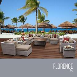 OCTR-FLORENCE17CWHEAT-Florence 17 Piece Outdoor Wicker Patio Furniture Set 17c