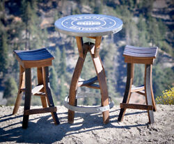 Wine Barrel Pub Table with Top (Logo not included) Standard Gray Cement Top