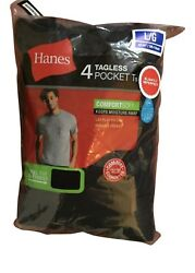 4 pack hanes mens pocket t shirt choose your size amp; color $18.99