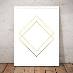 Minimal Gold Double Diamond Art Poster Print - A4 to A0 Framed