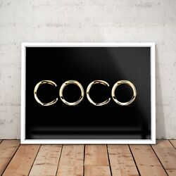 COCO CHANEL Fashion Logo Gold Icon Art Poster Print - A4 to A0 Framed