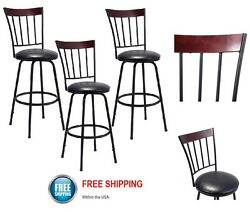 Swivel Padded Bar Stools Patio Pub Outdoor Indoor Counter Height Set of 3 Chair