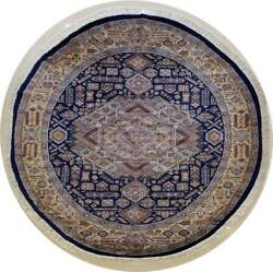 Rugstc 8x8 Caucasian Design Blue  Rug Hand-KnottedGeometric with SilkWool
