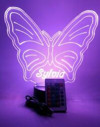 Butterfly Light Up Night Light Table Lamp LED With Remote Personalized Free