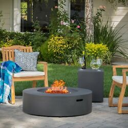 Outdoor Fire Pit Table Circular Propane Concealed Tank Holder Patio Furniture
