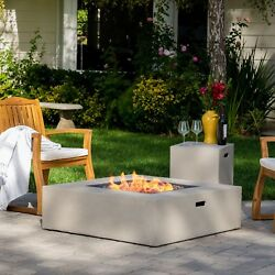 Outdoor Fire Pit Table 40-inch Square Propane Concealed Tank Holder Patio Decor