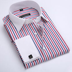 Luxury Men's Dress Shirts Long Sleeve French Cuff  Business Casual Striped CS398